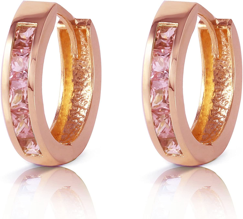 Galaxy Gold 1.3 CTW 14k Solid Rose Gold Hoop Huggie Earrings Pink Sapphire