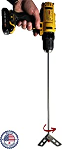 """Wine Beer Degassing Stirrer for Wine Making 17.5"""" Stainless Steel 316 Drill Mixer Rod Attachment Wand w/Paddles 