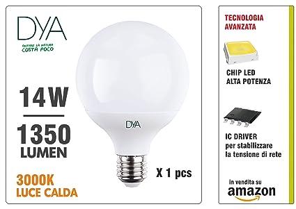 Dya Bombilla LED Globo 14W 1350 lúmenes, E27, luz cálida 3000 K °