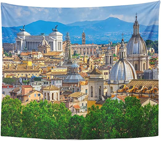 Berrykey Tapestry City Skyline of Rome Italy Architecture and País Mark Cityscape Masterpiece Roma Home Decor Wall Hanging for Living Room Bedroom Dormisette 60 x 80 Inches: Amazon.es: Juguetes y juegos