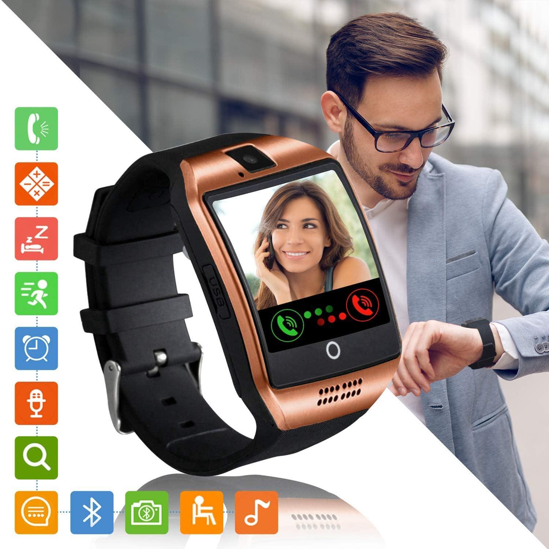 Tipmant Reloj Inteligente Mujer Hombre Smartwatch Pantalla táctil con Ranura para Tarjeta SIM Cámara Podómetro Moviles Buenos Pulsera de Actividad para Android Xiaomi Samsung Huawei (Oro)