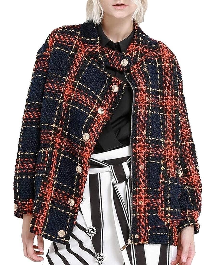 1 Sanderso Women's Stylish Retro Slim Tweed Coat Short Coat Long Sleeve Check Jacket