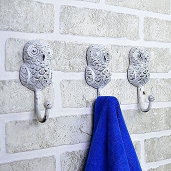 Casa Decor Baby Standing Owl Single Animal Shaped Coat Hat Hook, Standard (White)