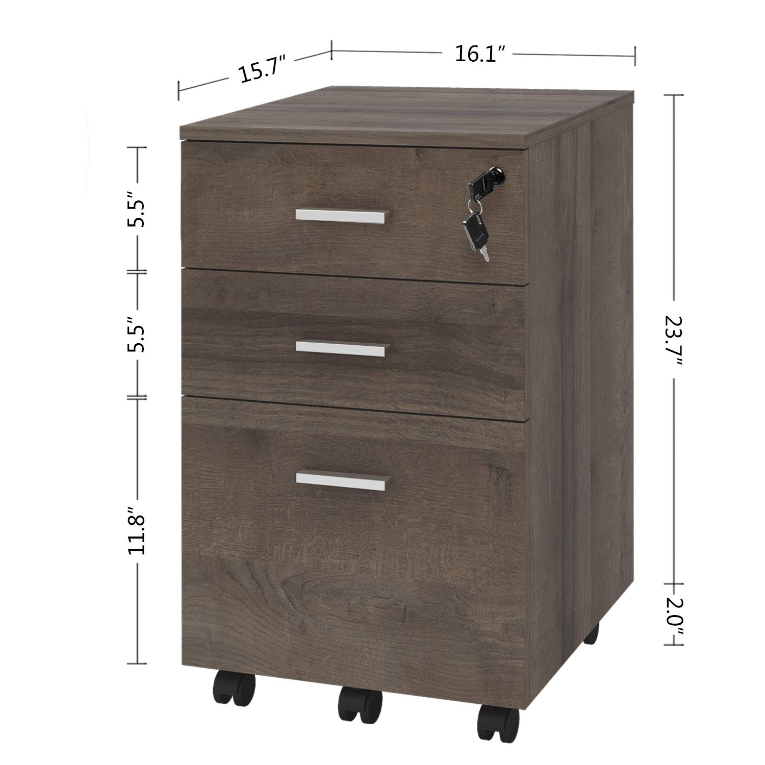 DEVAISE Locking File Cabinet, 3 Drawer Mobile Wood Cabinet, Fully Assembled Except Wheels