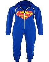 Kids Boys Girls Superman Batman Hooded All In One Piece Onesie Jumpsuit 7-14yrs (13-14 Years, Superman)
