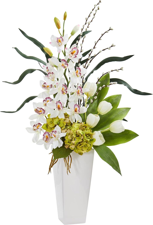 Nearly Natural Cymbidium Max 73% OFF Orchid Artificial Super-cheap and Tulip Hydrangea