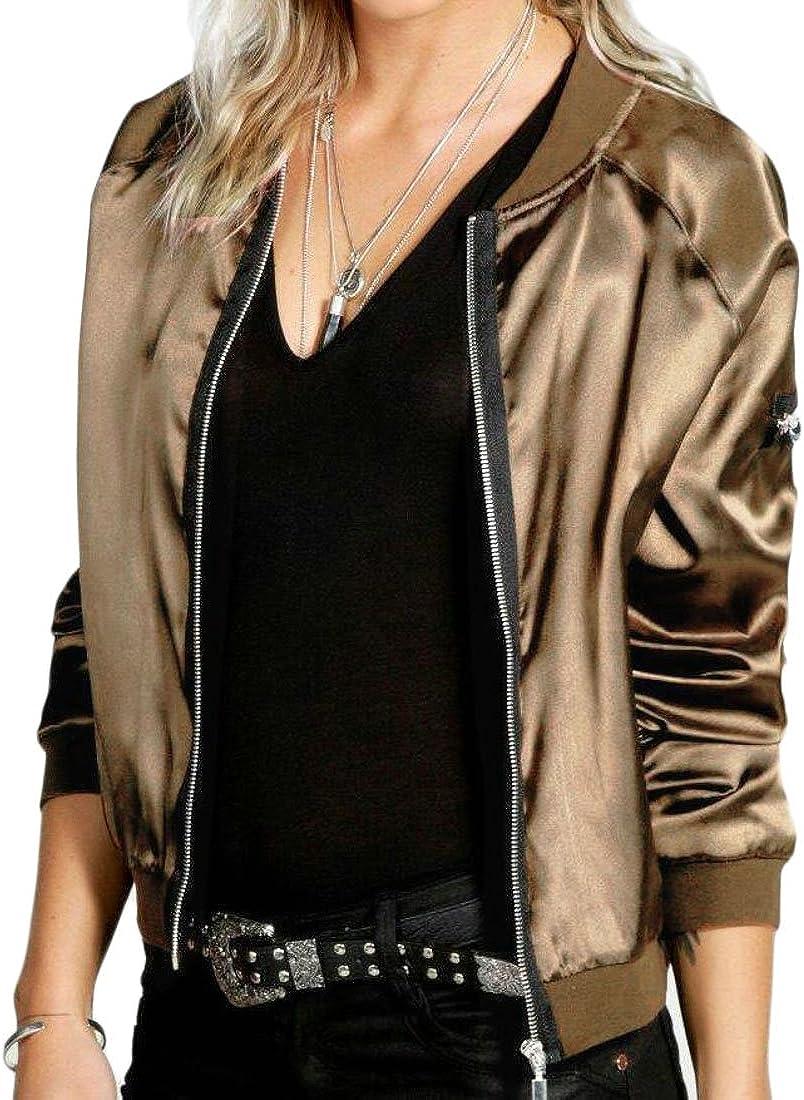 Fllay Womens Stylish Zippers Basic Slim Fit Short Bomber Jacket Coats