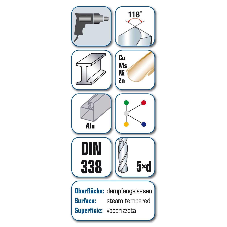 5mm 5//16 Alpen 75401650100 HSS Jobber Drills Din 338 12