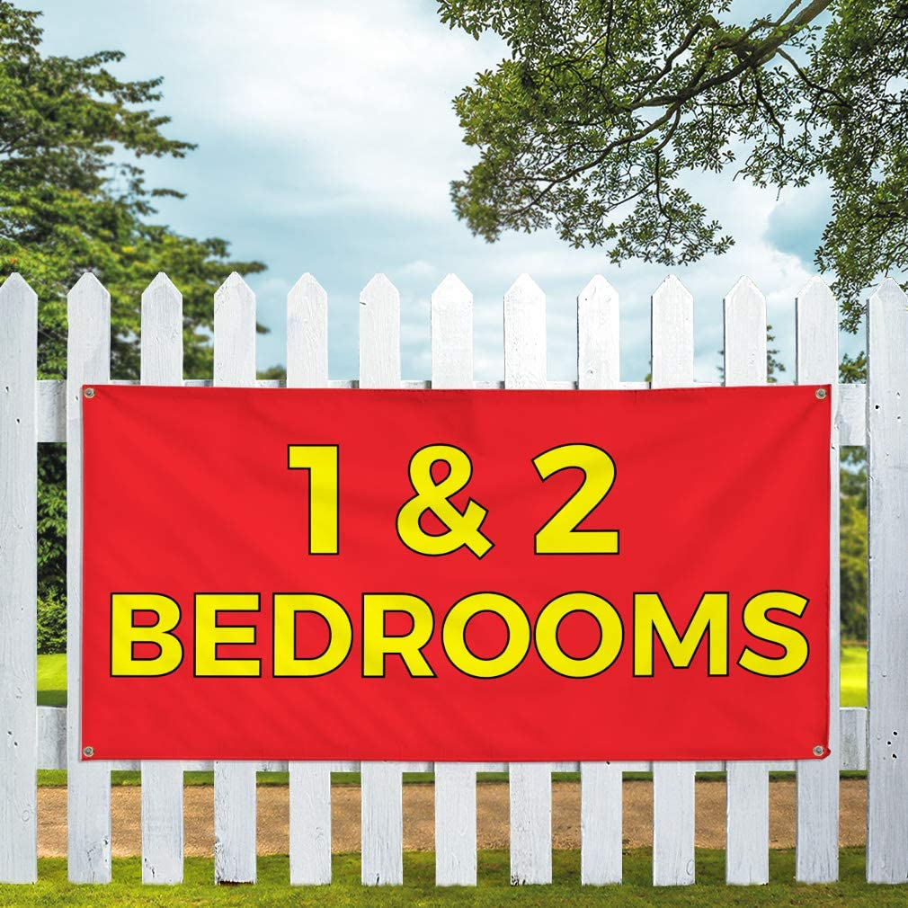 Vinyl Banner Multiple Sizes 1/&2 Bed Rooms B Outdoor Advertising Printing Business Outdoor Weatherproof Industrial Yard Signs 10 Grommets 60x144Inches