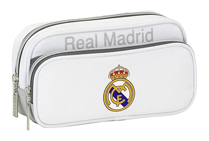 Real Madrid CF Real Madrid - Estuche portatodo con Bolsillo (SAFTA 811624602), Color Gris (