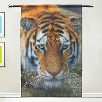 Tiger Pattern Print Window Sheer Curtain Panels Christmas Decoration Door Gauze Curtains Living