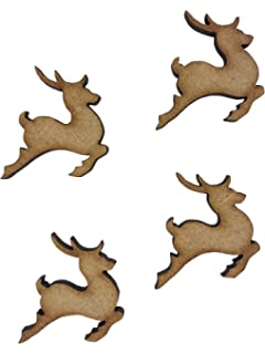 Leaping Reindeer 3mm MDF Wooden Laser Cut Shapes Various Sizes