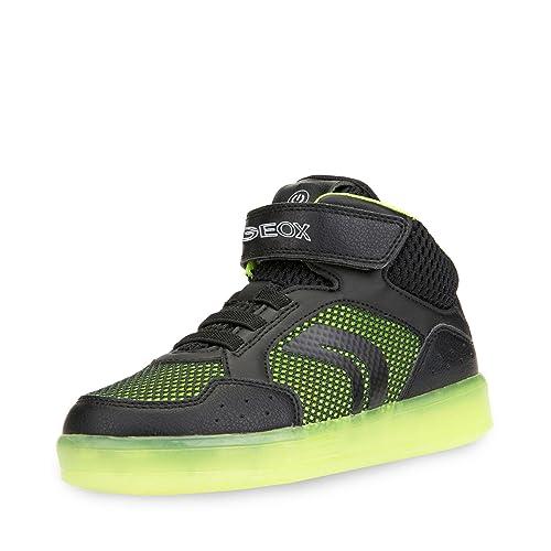 Geox J Kommodor C, Sneaker a Collo Alto Bambino, Nero (Black/Lime), 39 EU