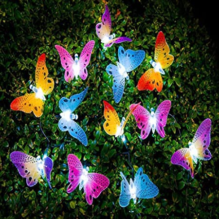 UxradG - Guirnalda de luces solares, 12 luces LED de fibra de mariposa, para jardín, patio, exterior, impermeable, para el aire libre, para casas, bodas, cafeterías, luces LED de hadas, 12 unidades: