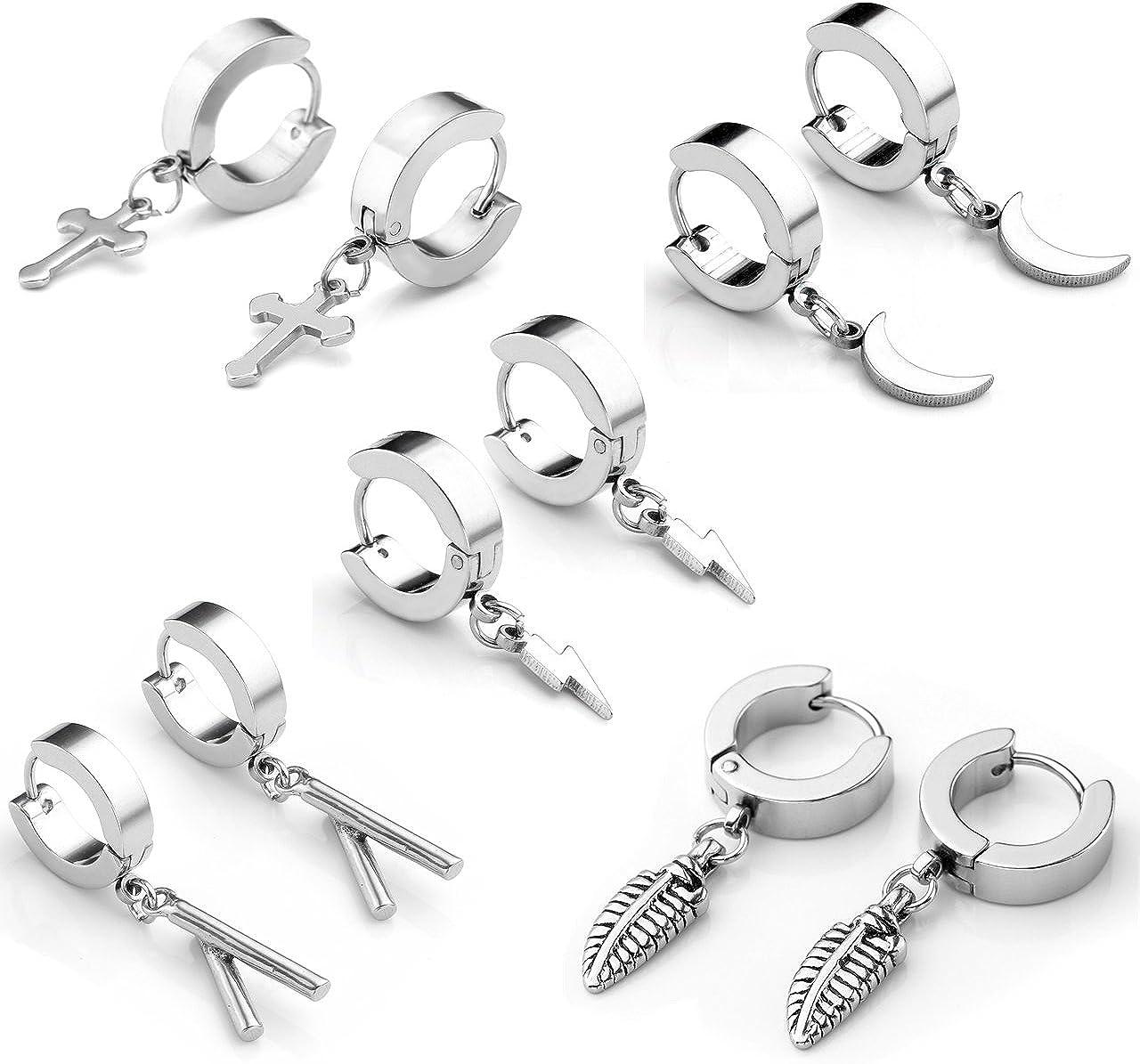Zysta 10/pcs en acier inoxydable Unique plumes Croix pendantes Cr/éoles breloques /él/égant /à charni/ère Huggie Boucles doreilles pour homme