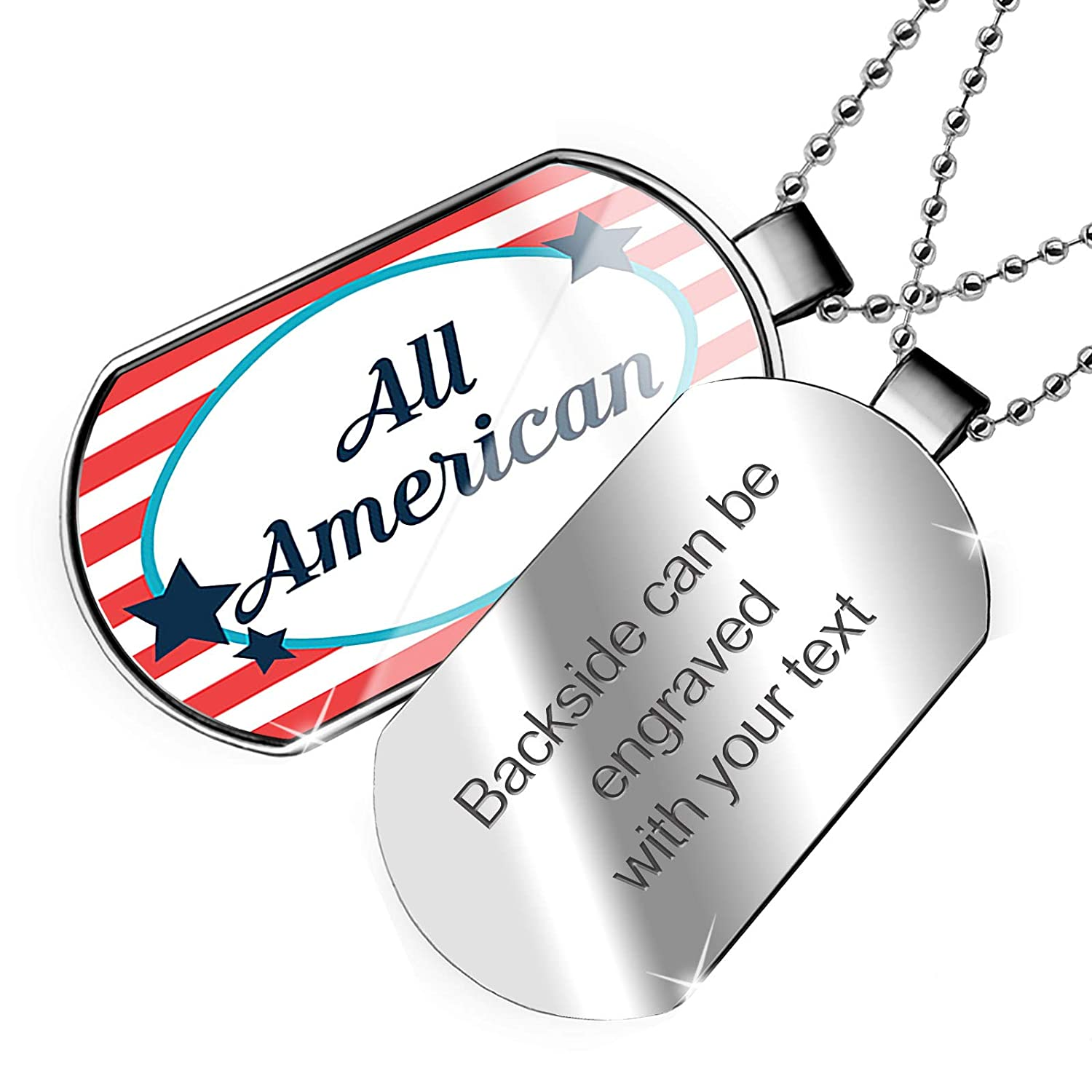 NEONBLOND Personalized Name Engraved All American Fourth of July America Stars and Stripes Dogtag Necklace