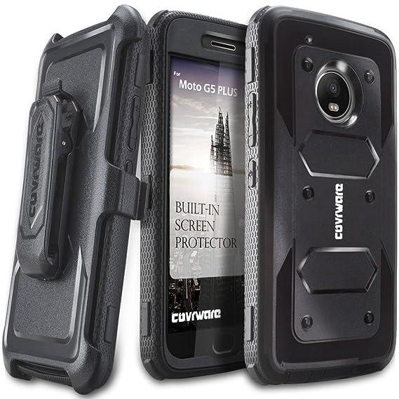 more photos 9fefa 2f6df Moto G5 Plus Case, COVRWARE [Aegis Series] w/Built-in [Screen Protector]  Heavy Duty Full-Body Rugged Holster Armor Case [Belt Swivel  Clip][Kickstand] ...
