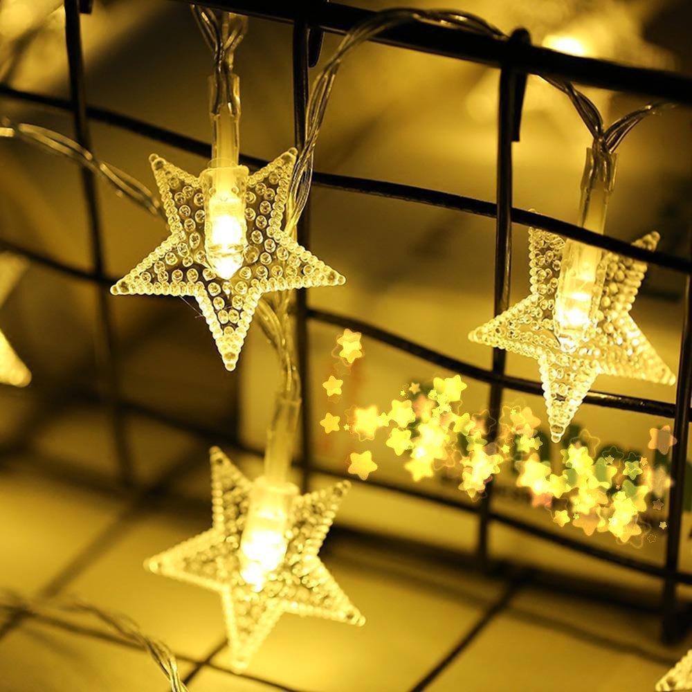 Robemon Noël Guirlandes Lumineuses 20 LED Boîte à Piles Perlescent Noël Veilleuse Pentagram Décoration Romantique Chaîne de La Lampe