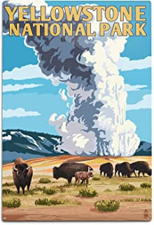 product image for Lantern Press Yellowstone National Park, Wyoming, Old Faithful Geyser and Bison Herd (12x18 Aluminum Wall Sign, Wall Decor Ready to Hang)