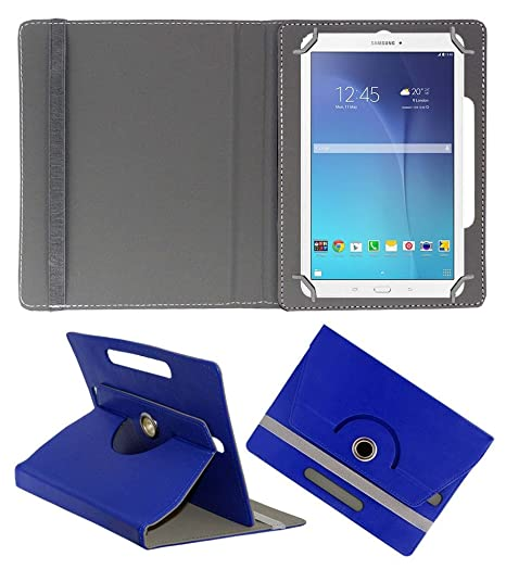 Acm Rotating 360 Leather Flip Case Compatible with Samsung Galaxy Tab E 9.6 T561 Tablet Cover Stand Dark Blue