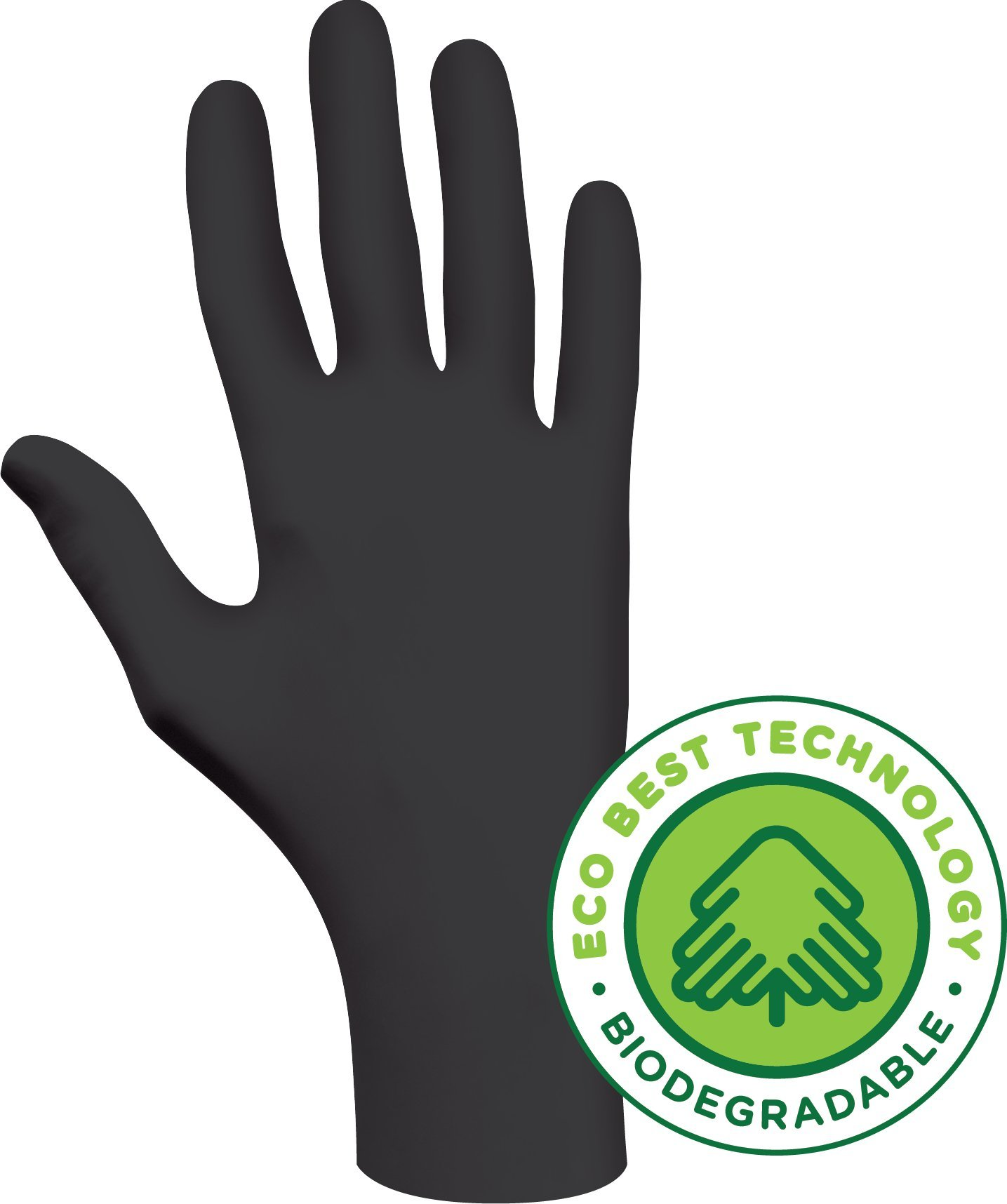 SHOWA Best 6112PF  Eco Best Technology Biodegradable Industrial Grade Nitrile Glove, Disposable, Powder-Free, 4 mil Thickness, Small, Black (Pack of 100)