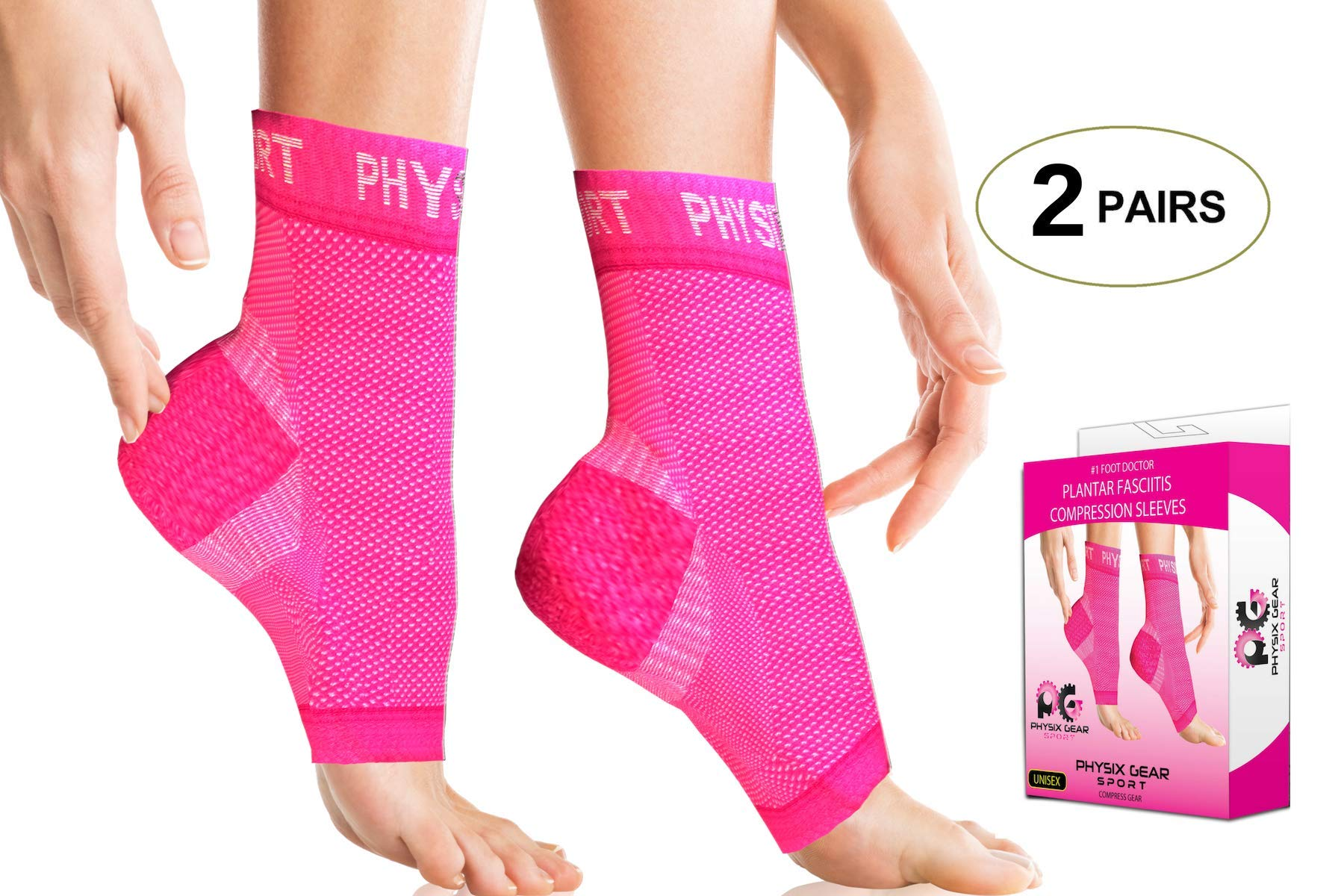 2 PAIRS Plantar Fasciitis Socks with Arch Support, BEST 24/7 Foot Care Compression Sleeve, Better than Night Splint, Eases Swelling & Heel Spurs, Ankle Circulation, Relieve Pain Fast - Pink S/M