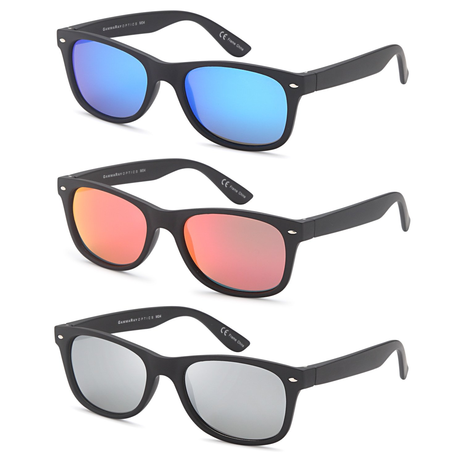8934afe8d66e Amazon.com: Polarized Sunglasses Men and Women 3 Pack (3 Pairs - 55 Eye  Size Matte Black Frame Mixed Mirror Lens Colors, 55): Sports & Outdoors