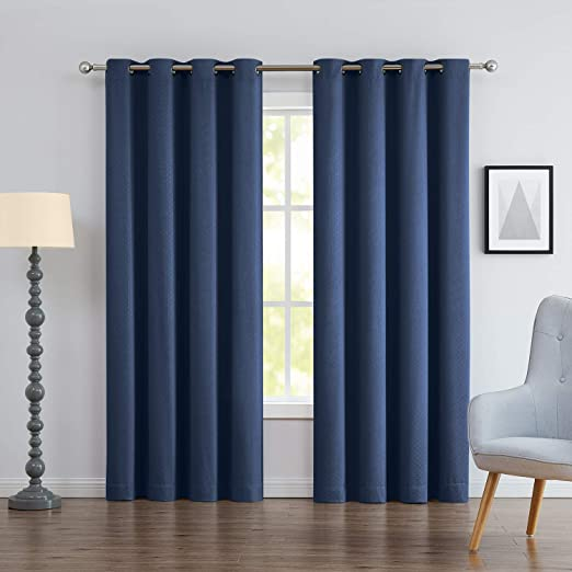 Amazon Com Blue Blackout Window Curtains For Bedroom 95inches Long Energy Efficent Thermal Insulated Curtain Panels Navy 2 Panels Kitchen Dining