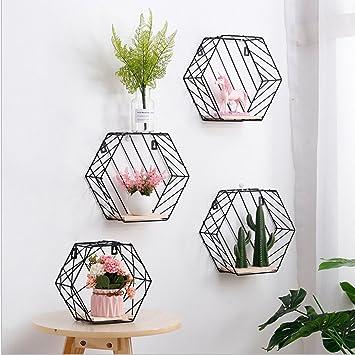 Ternly Wandregale aus Eisen, sechseckig, mit Holz-Halterung,  Gitter-Metallaufhängung, Wand-Dekoration, für Wohnzimmer, Schlafzimmer