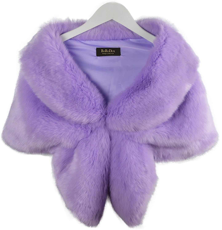 RoRoDox Warm Faux Fur Wedding Shawl Perfect for Wedding/party/show (Medium, Rabbit Fur Black)