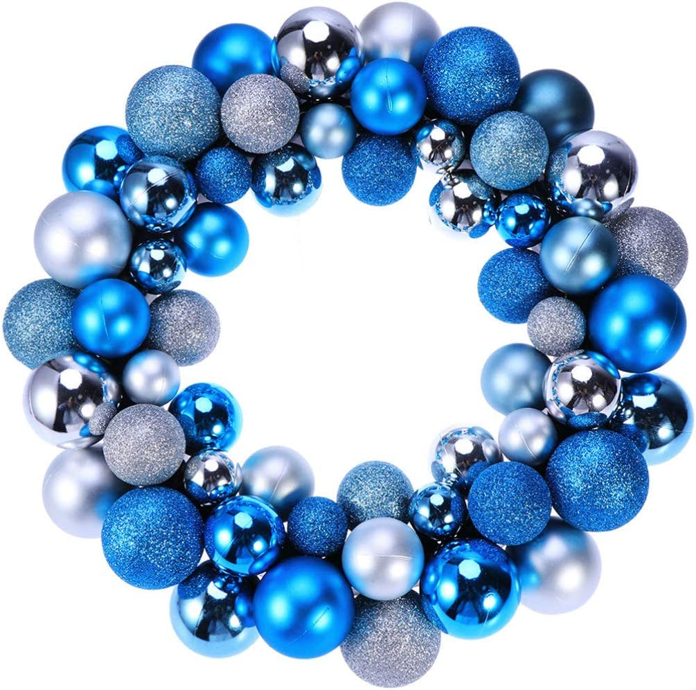 Amosfun Christmas Door Wreath Christmas Ball Ornament Decoration Christmas Wreath for Home Party Decoration Silver and Blue