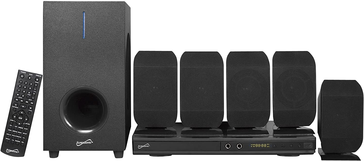 Amazon Com Supersonic 5 1 Channel Dvd Home Theater System With Usb Input Karaoke Function Home Theater Systems Black Sc 38ht Electronics