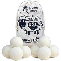 8 XL Organic Tumble Dryer Balls, 100% Nieuw-Zeelandse wol