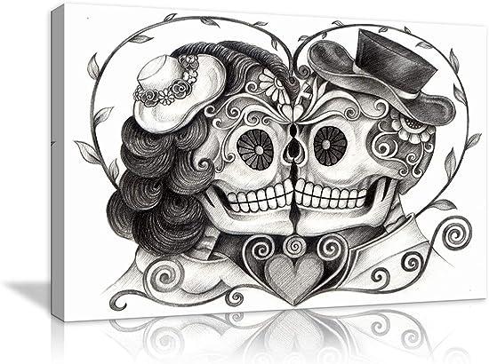 AMEMNY Vintage Skull Head Couple Love