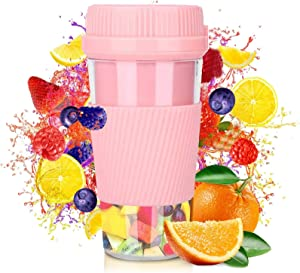 Portable Blender, Personal Size Blender for Shakes and Smoothies, Mini Jucier Cup USB Rechargeable, Mini Personal Mixer Mini Blender for Home, Office, Sports, Travel, Outdoors Pink