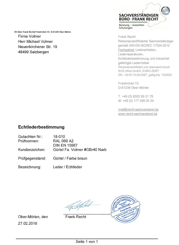4e3803dac667a0 Fa.Volmer Herren Ledergürtel aus Büffelleder, 38mm breit und ca. 3 ...