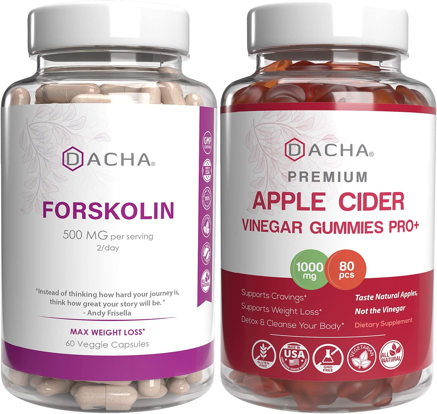 Forskolin & Apple Cider Vinegar Gummies Bundle – Antioxidant Packed For Ultra Strength Weight Loss, Immune Support, Detox Natural Herbs For Slim Look, Organic ACV With Mother, Lose Weight Fast Capsule