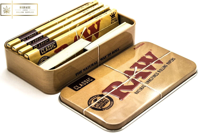 Higrade marchio Stash bag Raw tabacco Tin Raw 30,5/cm Round metal Rolling Tray Gift set 4/Raw Classic King Size cartine e 2/Raw punta libri Raw posacenere in metallo con calamita 14/cm