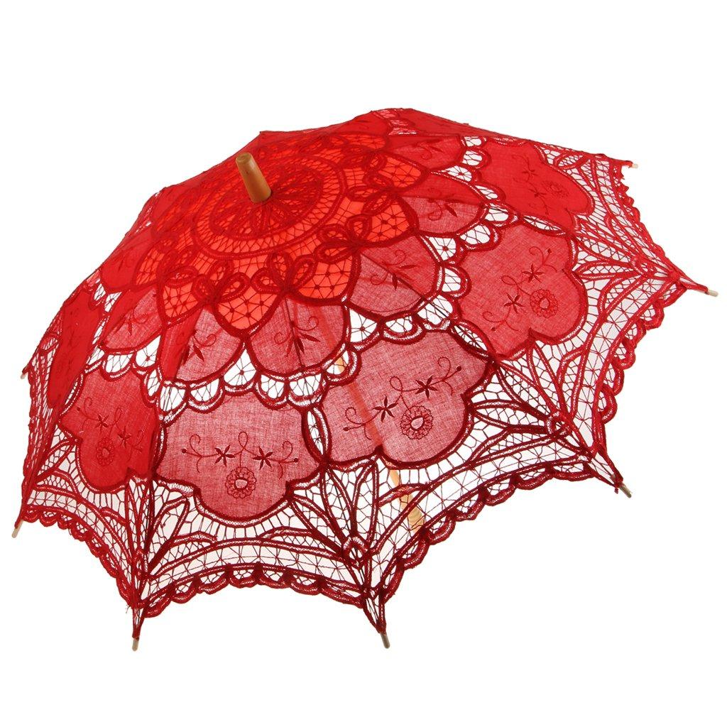 MonkeyJack Vintage Lace Floral Umbrella Wedding Bridal Parasol - Red, as described