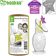 Haakaa Breast Pump with Suction Base and Flower Stopper 100% Food Grade Silicone BPA PVC and Phthalate Free (5oz/150ml) (Purple)