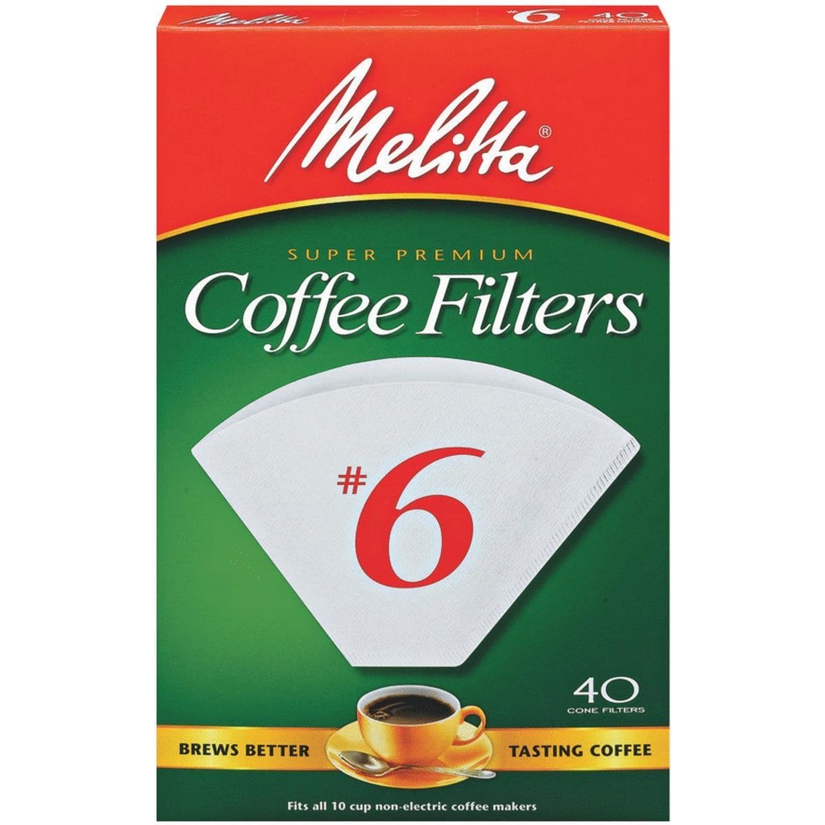 Melitta Cone Coffee Filters, White, No. 6, 40-Count Filters Pack of 2 (80 Filters Total)