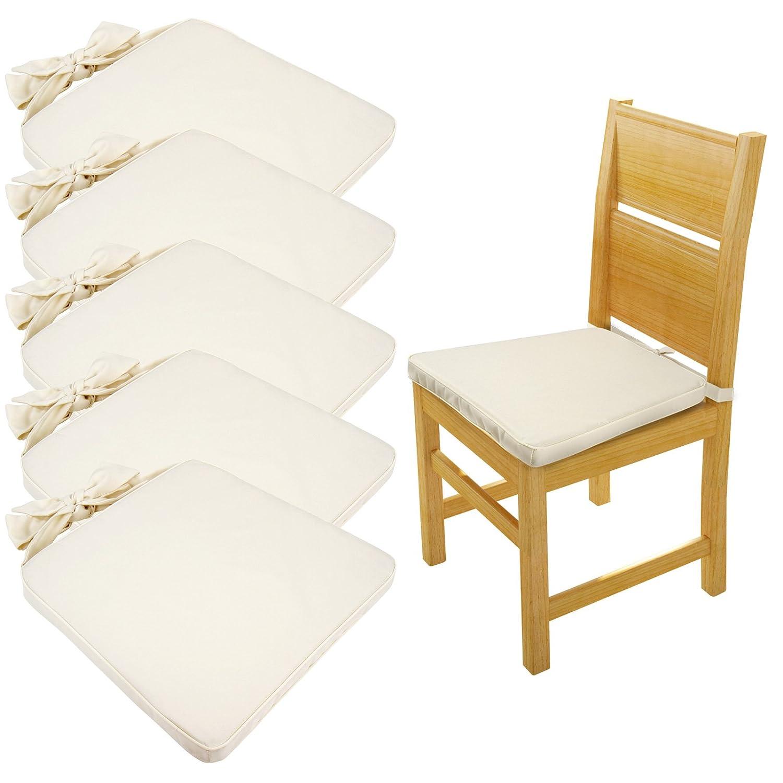 Jago Cuscino per sedie imbottito impermeabile 45 x 42, 5 cm con nastro STKS03