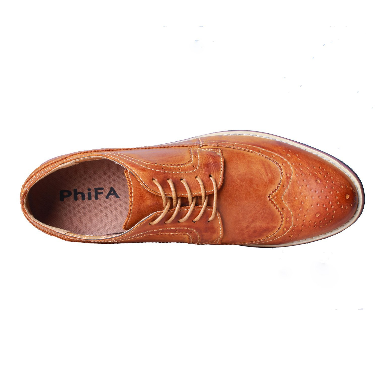PhiFA Men's Classic Leather Oxfords Wingtips Dress Shoes Lace-up US Size 11 Brown by PhiFA (Image #4)