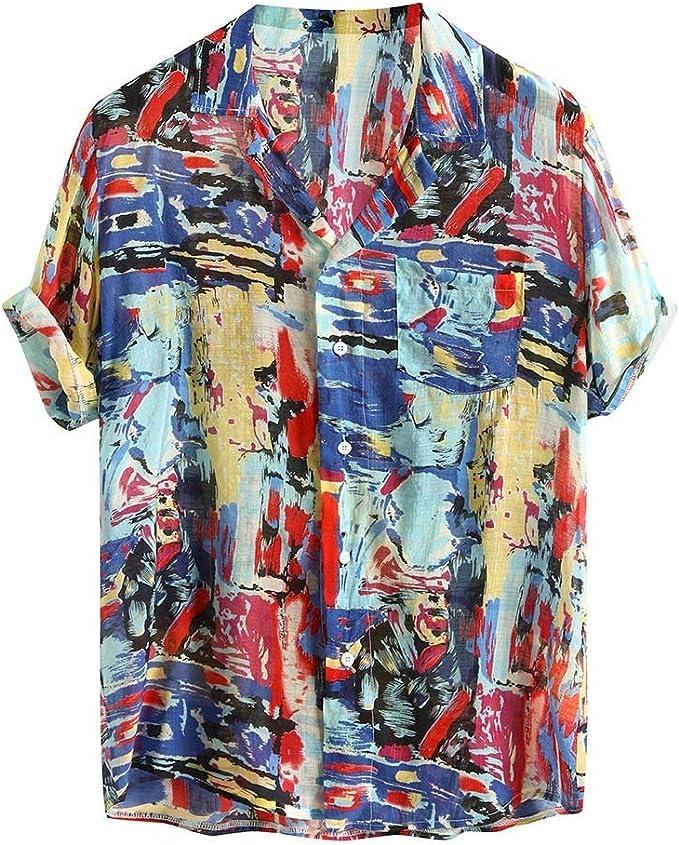 Kimloog Mens America USA Flag Print Short Sleeve Cotton T-Shirt Blouse Casual Tops