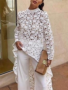 88492480a0f PRETTYGARDEN Women s Lantern Long Sleeve Round Neck High Low Asymmetrical  Irregular Hem Casual Tops Blouse Shirt. Back. Double-tap to zoom