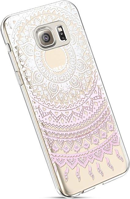 Ysimee Coque Samsung Galaxy S6 Edge, Étui Transparent Motif ...