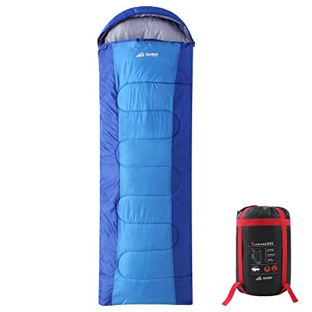 SEMOO Backpacking Sleeping Bag – Lightweight Portable, Waterproof, Comfort with Compression Sack – Great for 3-4 Season Traveling Camping, Hiking