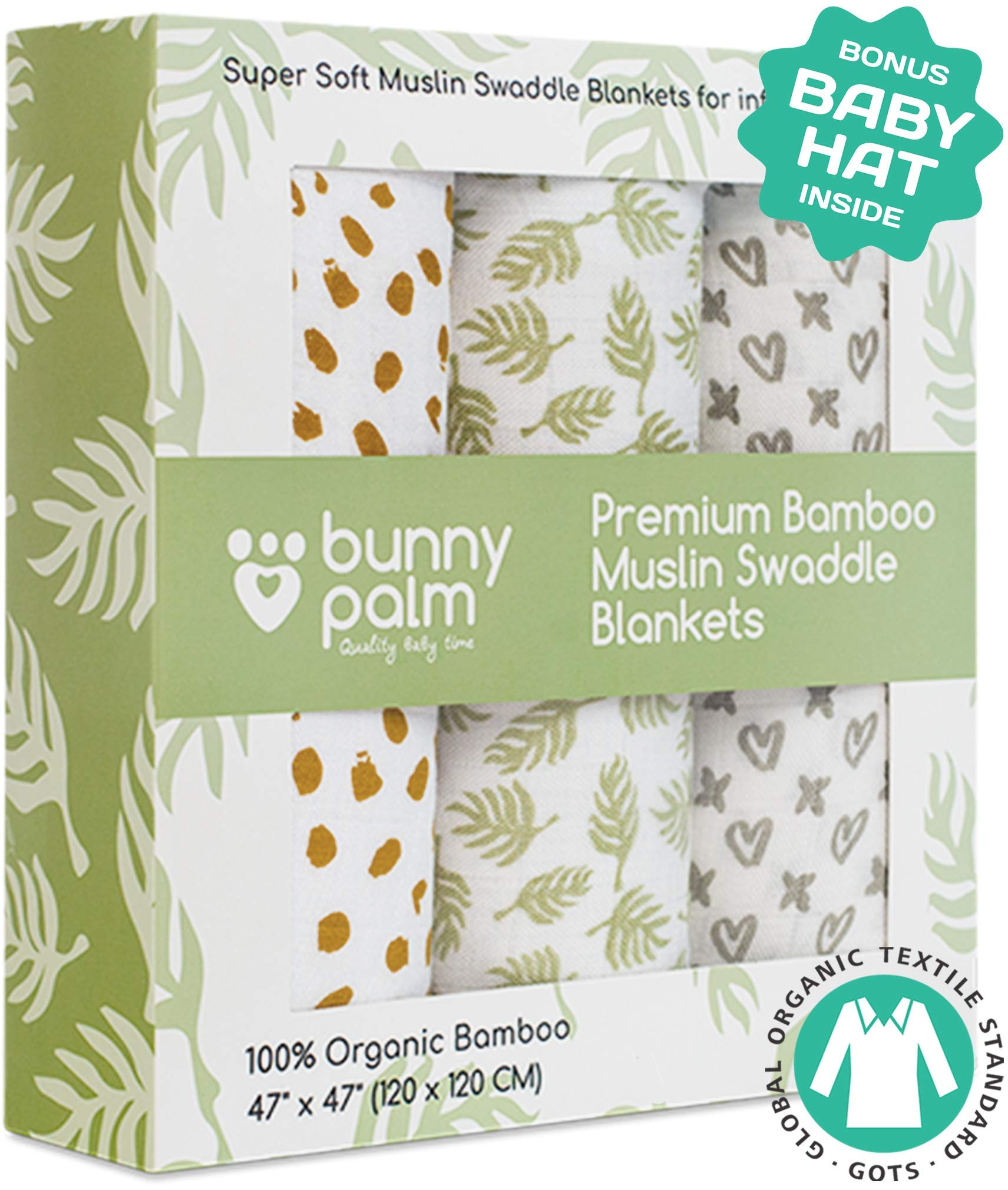 Muslin Swaddle Blankets, Unisex Organic Bamboo for Baby Set of 3 Swaddles for Boys and Girls, Soft Swaddling Receiving Sleep Blankets, Unisex Infant Toddler Gender Neutral Gift Baby Hat by Bunny Palm