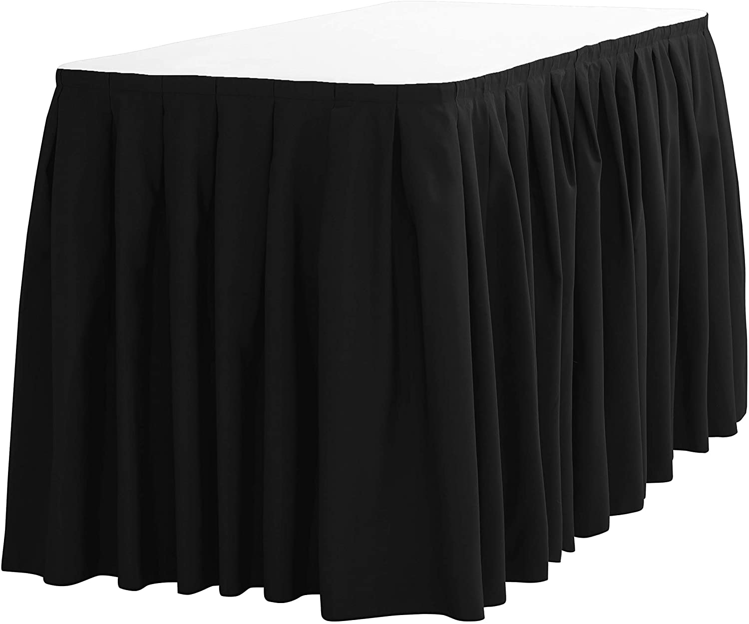 LinenTablecloth 21 ft. Accordion Pleat Polyester Table Skirt Black