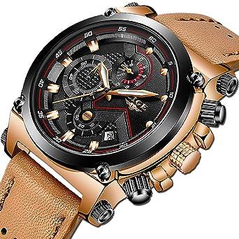 2197c213a95c6 Amazon.com: LIGE Men's Fashion Sport Quartz Watch with Brown Leather ...